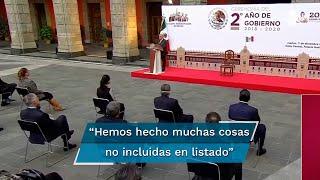 López Obrador dijo que de los 100 compromisos que prometió hace dos años en el Zócalo, ha cumplido 97, por lo que aún le faltan tres: descentralizar al gobierno federal, el desarrollo de fuentes renovables de energía y conocer la verdad sobre el caso de los 43 normalistas desaparecidos de Ayotzinapa