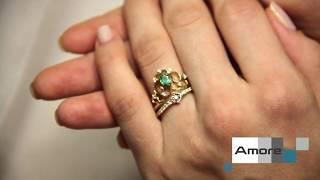 Свадебный комплект из помолвочного и обручального кольца   Изумруд, бриллианты и желтое золото