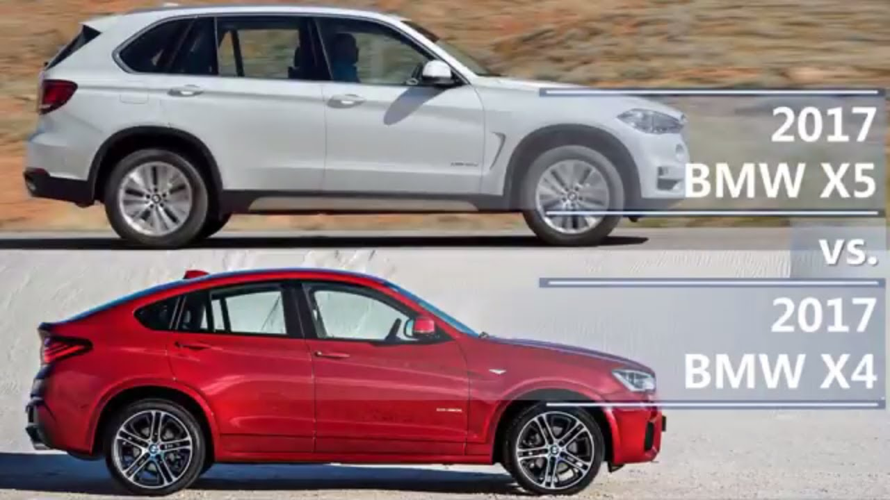 The biggest difference between the x3 and the x5 just might be in their dimensions! 2017 BMW X5 vs 2017 BMW X4 (technical comparison) - YouTube