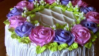 Торт на День Рождения,Кремовый ТОРТ с цветами РОЗЫ из крема,Украшение торта кремом Cake decorating