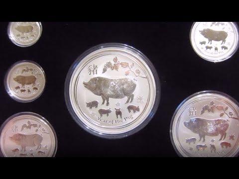 Unboxing The Complete Set Of 2019 Perth Mint Silver Lunar Pig Set  .5 Oz To 1 Kilo!