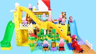 Peppa Pig Blocks Mega House Construction Sets - Lego Duplo House With Water Slide Toys For Kids #9