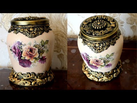DIY/Decoupage glass jar /How to Decor glass jar  with air dry clay