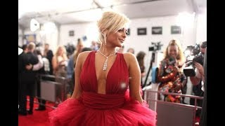 Bebe Rexha - Red color dress at Grammy Awards