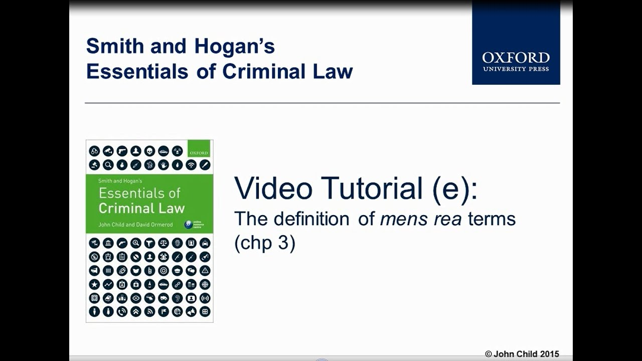 the definition of mens rea terms (chp 3) - smith and hogan's