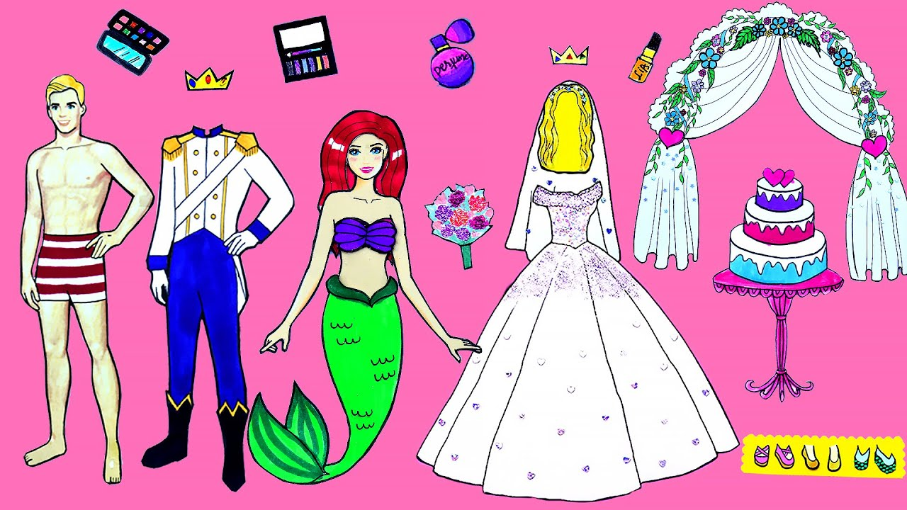 Paper Dolls Dress Up Royal Wedding & Prince Rescues Mermaid Papercrafts Dresses Handmade Quiet Book