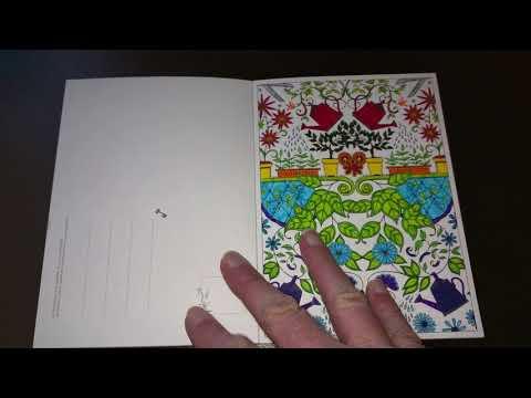 Livre de Coloriage anti-stress adulte.jardin secret carte postale