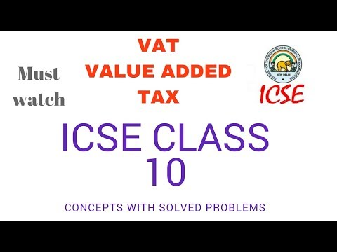 VAT Value Added Tax ICSE class 10