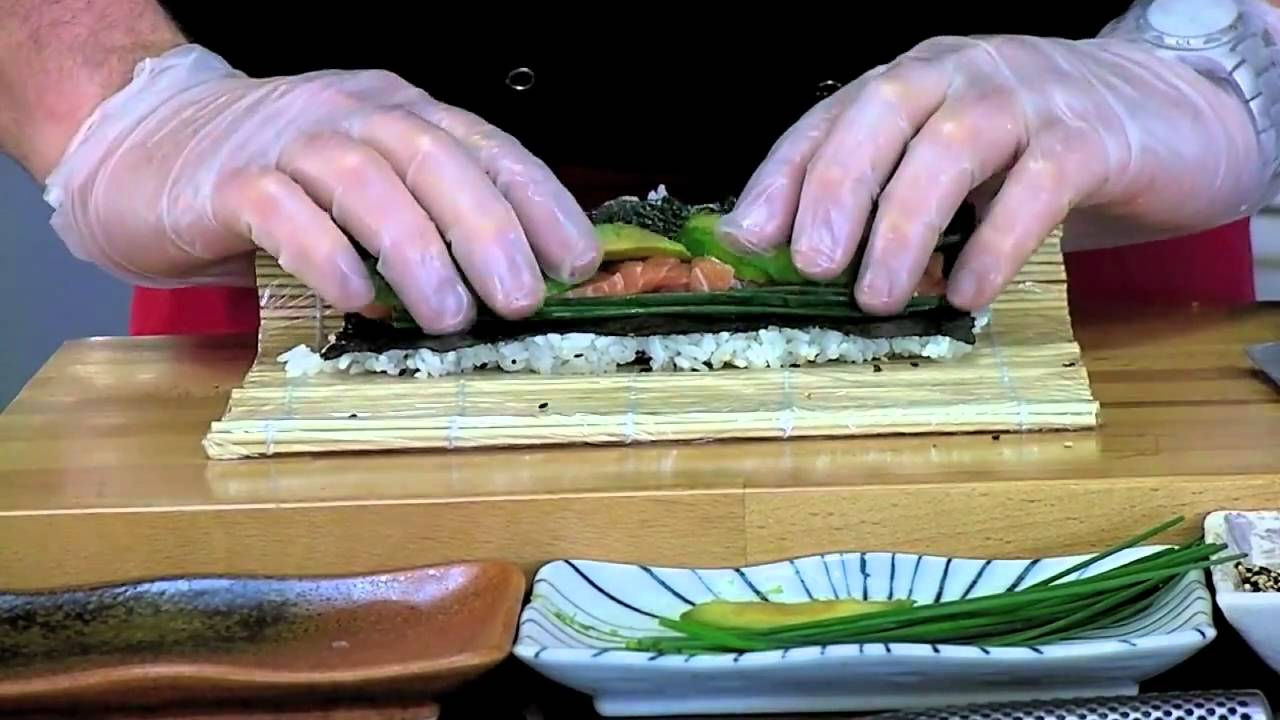 Making a Salmon & Avocado Inside-Out Sushi Roll - YouTube
