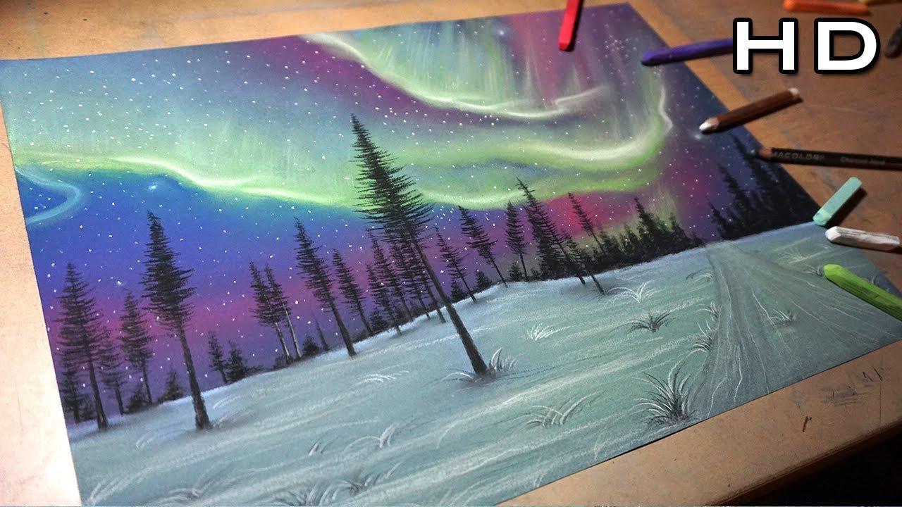 Dibujos De Paisajes En Color: Pintando Y Dibujando La Aurora Boreal Con Colores Pastel