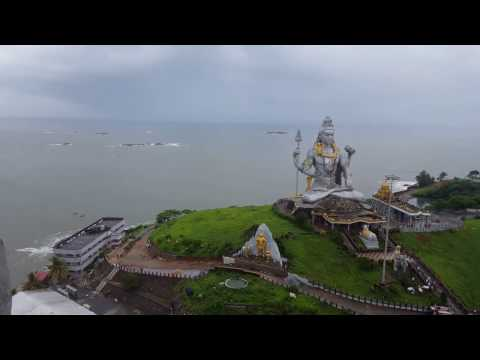 Murdeshwar Temple .. Lord Shiva statue, Arabian Sea view from Gopura ... Bangalore sightseeing tour