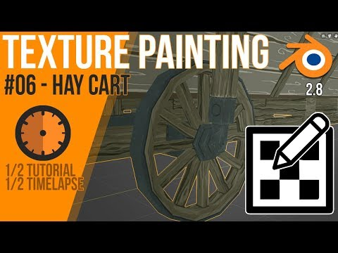 How to texture paint in Blender 2.8 - Tutorial / timelapse - stilyzed hay cart #06 thumbnail
