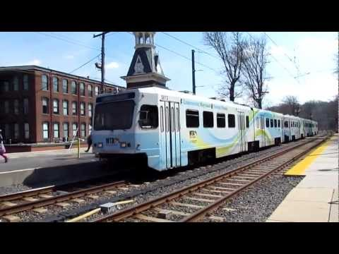 Three Car Baltimore Light Rail Train at Woodbury