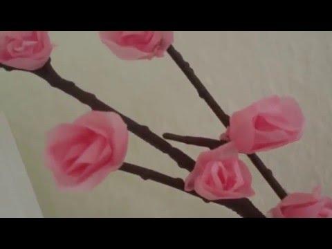 Cara Membuat Bunga Sakura Dari Kertas Krep Youtube