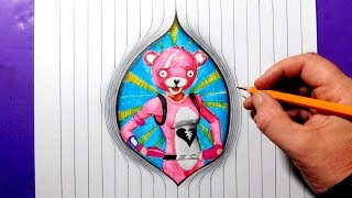 Drawing Pink Teddy Bear Skin From Fortnite (Cuddle Team Leader)