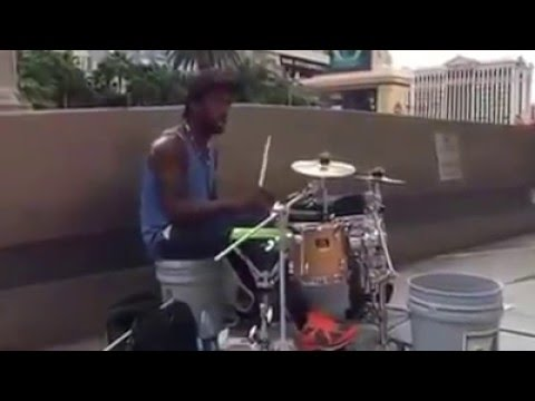 Creative busker drummer performed 'see you again'