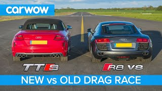 Audi R8 V8 2008 vs new TTS - DRAG RACE, ROLLING RACE & BRAKE TEST