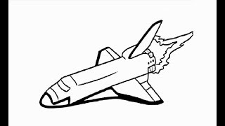 """How to draw """"Space rocket shuttle"""" pencil drawing step by step"""