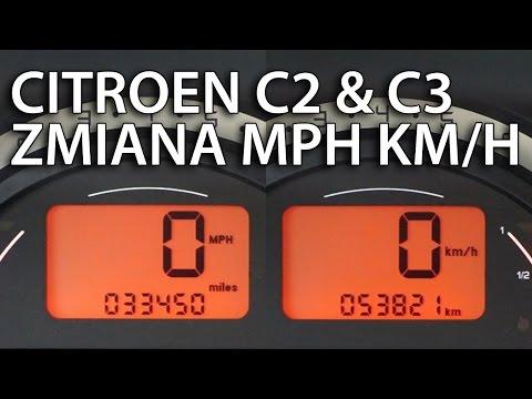 Jak zmienić jednostki prędkości w Citroen C2 & C3 (km/h MPH cyfrowy prędkościomierz)