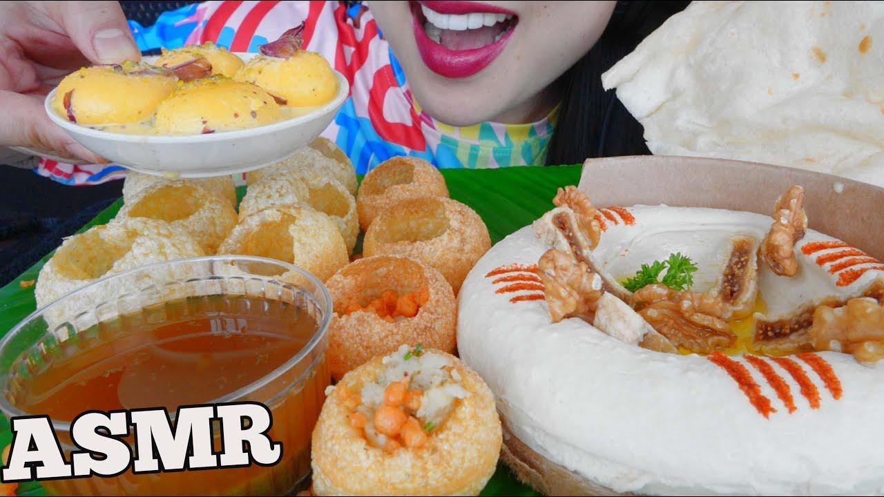 Download ASMR EATING GOLGAPPA + FIG HUMMUS + RASMALAI *DESSERT (EATING SOUNDS) NO TALKING | SAS-ASMR