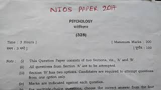 Nios Psychology Question Paper Class 12||FGA||