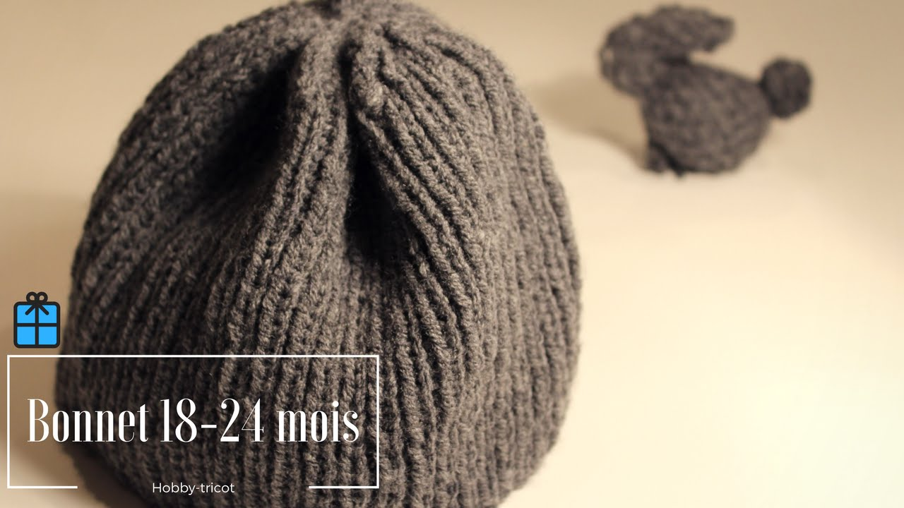 15fb40871b TUTO TRICOT (DIY) - BONNET BEBE 18 à 24 MOIS - YouTube
