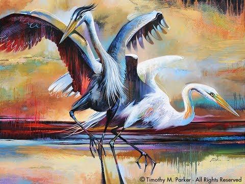 Shrishti Arts The Beautifull Birds Abstract Art Poster Colour
