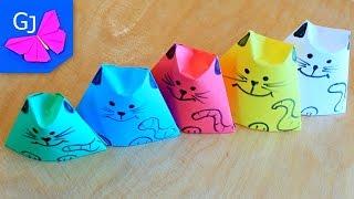 Оригами Кот Матрешка из бумаги