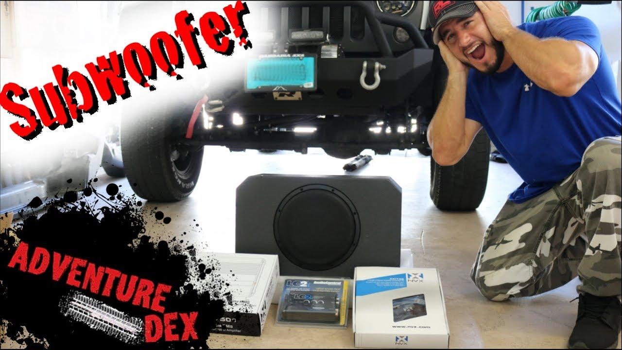 Jeep Wrangler Subwoofer Installation Nvx Bass Kit Youtube Bazooka Wiring Sub Harness