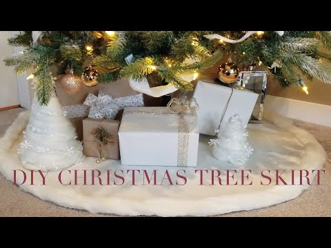 HOW TO MAKE EASY NO SEW DIY CHRISTMAS TREE SKIRT || DOLLAR STORE DIY