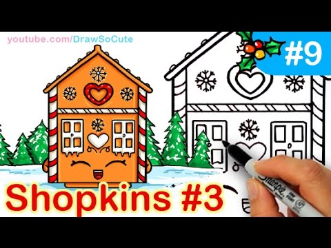 How To Draw Shopkins Cute Gingerbread House Step By Step