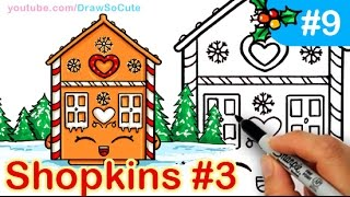 How to Draw Shopkins Cute GingerBread House step by step Ginger Fred