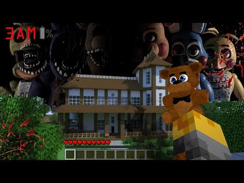 SCARY FIVE NIGHTS AT FREDDYS 3AM APPEAR IN MY HOUSE IN MINECRAFT !! Minecraft Mods