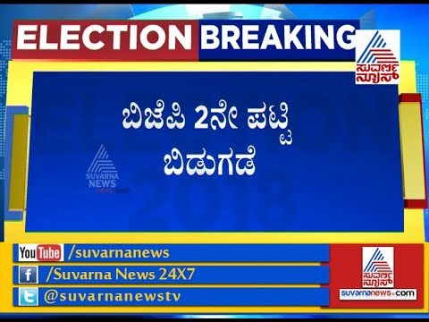 BJP Announces 2nd List Of 82 Candidates For Karnataka Assembly Elections 2018.