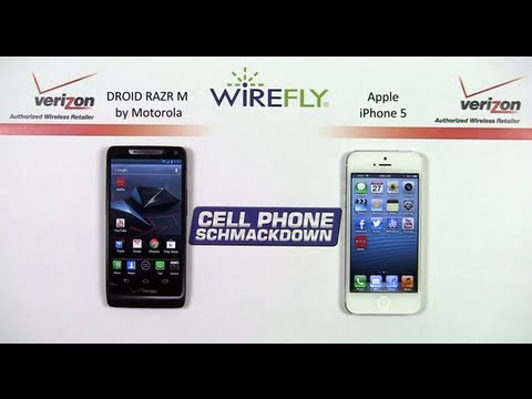 DROID RAZR M by Motorola vs Apple iPhone 5 Smartphone Schmackdown by Wirefly
