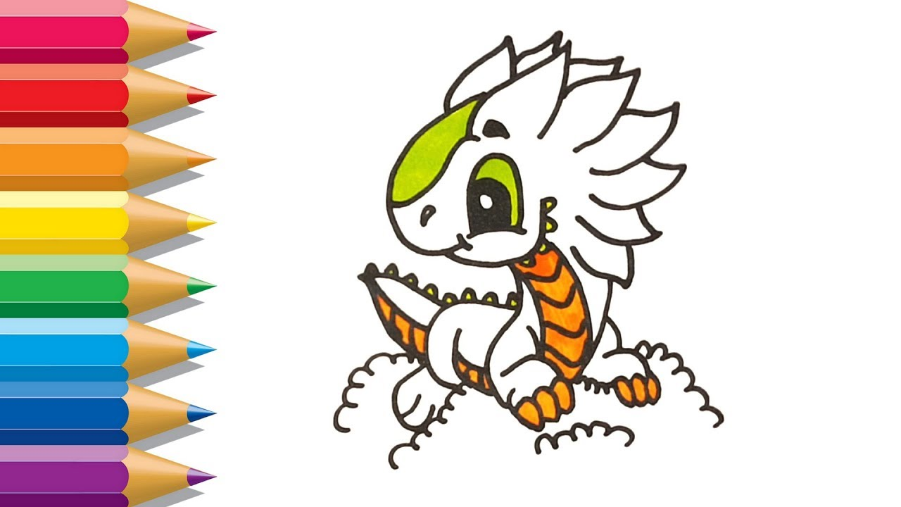 How to Draw Dragon | Cute Dragon Coloring Pages | Learn to Paint for ...