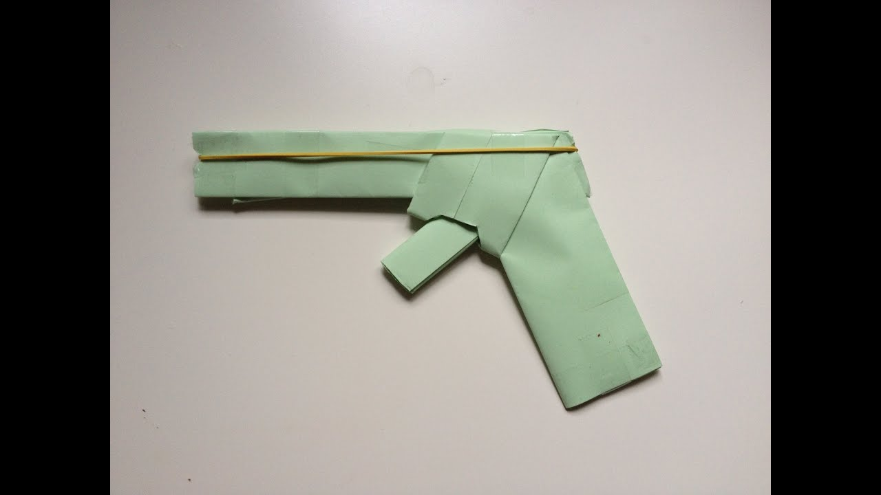 How To Make A Paper Gun That Shoots Rubber Bands With Trigger Easy HD