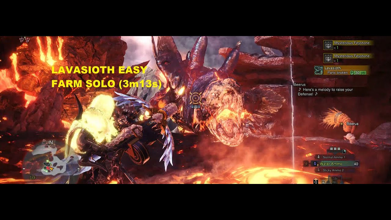 MHW Tempered Lavasioth Farming Decoration EASY! (3m13s ...