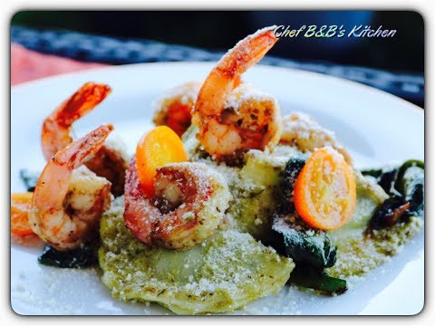 SPINACH SHRIMP RAVIOLI IN BASIL PESTO SAUCE I Cheese Ravioli Recipe I Spinach Ravioli