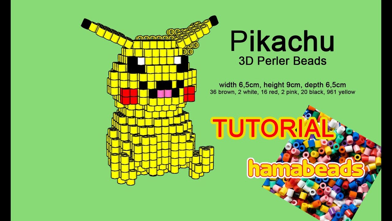 3d pikachu pokemon perler beads hama beads pattern tutorial youtube