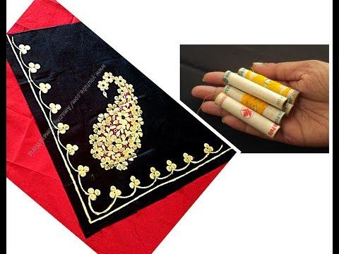 Border designer Saree/Dupatta/Shawl with waste like gotta patti |Gold Paint|Boutique collections