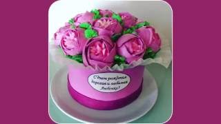 Торт Пионы в коробке / Tutorial cake Gift box with cream peony