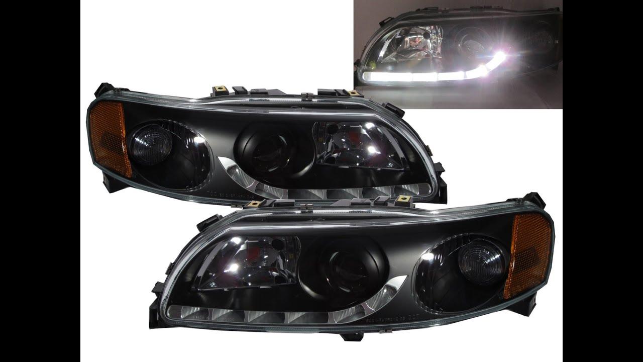 Crazythegod s60 v70 2000 20004 pre facelift projector headlight headlamp r8look black for volvo rhd youtube