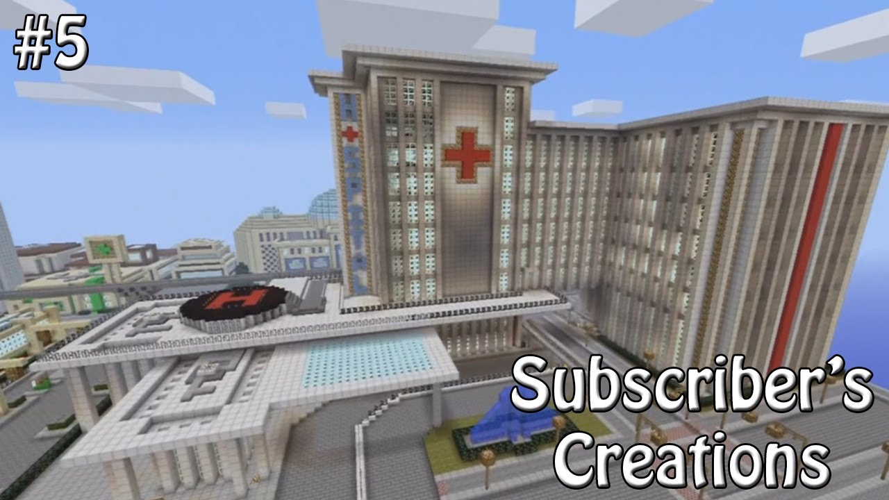 Minecraft Xbox 360 - Subscriber's Creations #5 - Huge Hospital & Speed Boat!