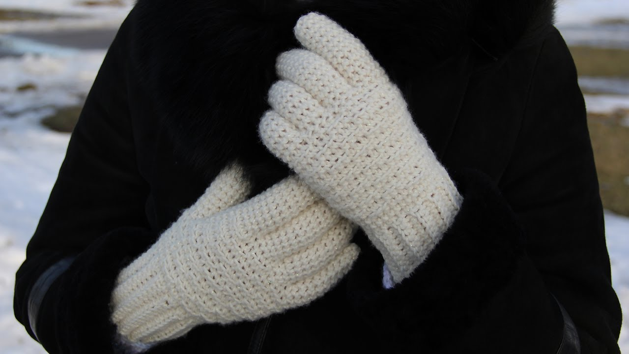 Knitting Pattern For Childrens Gloves With Fingers : How to crochet womens gloves - video tutorial for ...