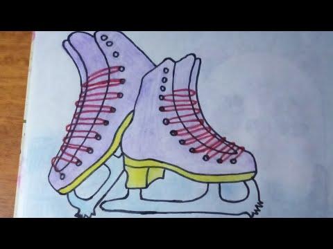 Нарисовать Фигурные Коньки Поэтапно  To Draw Figure Skates In Stages.