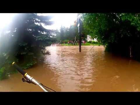 *UP CLOSE* I BIKED Through the Calgary Flooding 2013 - HD