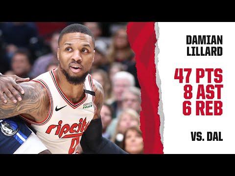 Damian Lillard (47 PTS, 8 AST, 16/28 FG) Highlights | Trail Blazers vs. Mavericks