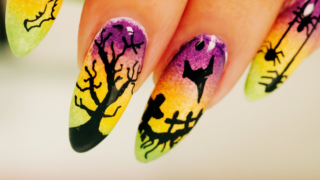ombre halloween nail art - step