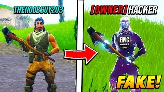 I FAKED being the FORTNITE OWNER spawning in WEAPONS! (Fortnite Battle Royale)